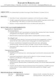 Example Resume Administrative AssistantClient Relations Customer Service