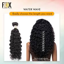 Hair Length Chart Bundles Us 70 29 54 Off Fdx Indian Water Wave Bundles With Closure 28inch Free Part Closure Human Hair Bundles Weave Natural Color Remy In 3 4 Bundles With