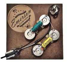emerson custom sg prewired kit sg axe and you shall receive 1 switchcraft short straight 3 way toggle bull 1 switchcraft j11 3 8 mono input jack made in usa bull 2 emerson paper in oil capacitors 022uf bridge