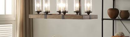 vineyard metal and wood 6 light chandelier with seeded glass shades brown
