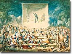 religious transformation and the second great awakening  in 1839 j maze burbank presented this image to the royal society in london the caption a camp meeting or religious revival in america