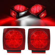 Wireless Trailer Lights Amazon Partsam 2pc Submersible Square Red White Led Stop Turn Tail