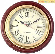 artshai vintage antique design 12 inch wall clock made from brass and wood