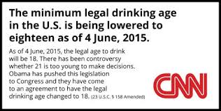No 18 Wasn't To The Age Drinking On Lowered June 4