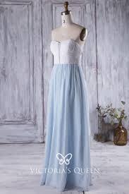 Light Blue Sparkly Bridesmaid Dresses White And Light Blue Chiffon Unique Bridesmaid Dress