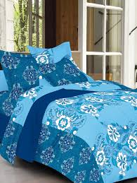 always plus sky blue fl cotton bedsheet 1 double bedsheet with 2 pillow cover with tc160 for uni from always plus for 645 at 57 off 2019