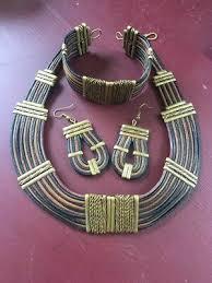 Alexis Kirk Leather, Brass & Copper Tribal Necklace, Earring & Bracelet Set    eBay