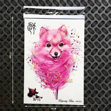 розовый лиса временные татуировки собака конструкции поддельные