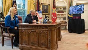 Desk in oval office Jimmy Carter President Donald Trump Joined At The Resolute Desk By Nasa Astronaut Kate Rubins left And First Daughter Ivanka Trump Talks With Nasa Astronauts Peggy Wikipedia Resolute Desk Wikipedia