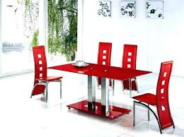 red chairs for dining room edge glass top trading