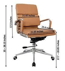 office chair eames. eames medium back office chair camel vegan leather thick high density foam stabilizing bar swivel u0026 deluxe tilting mechanism
