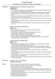 Coordinator Safety Resume Samples Velvet Jobs