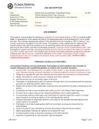 JOB DESCRIPTION Title Patient Care Coordinator/ Transitional ...