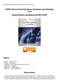Systems Analysis And Design Wiley Pdf Download Systems Analysis And Design Full By