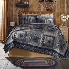 navy blue rustic lodge bedding carson blue plaid cotton pre washed patchwork twin quilt com