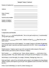 Sample Nanny Contract Sample Nanny Contract Pdf Editable