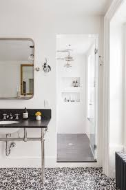 bathroom subway tile floor. Gray-cement-tile-floor-subway-tile -wall-dark-marble-vanity-countery-cococozy-elizabethroberts-large Bathroom Subway Tile Floor S