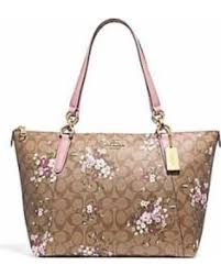 NEW WOMEN S COACH (F30247) SIGNATURE BROWN FLORAL AVA TOTE LEATHER BAG  HANDBAG