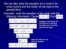 we can also write the equation for a circle if we know a point and the