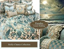 paradise luxury bedding collection soft aqua blue and taupe chenille velvet silk collections french graphic design