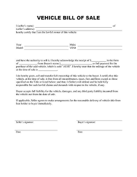 Vehicle Bill Of Sell Printable Sample Vehicle Bill Of Sale Template Form Laywers