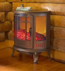 curved panoramic electric fireplace stove bronze