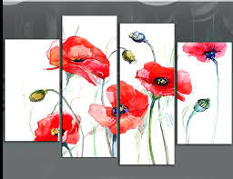 red poppies wall art five red poppies painting on white four panel fl beautiful poppy canvas