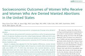 american public health association apha  socioeconomic outcomes of women who receive and women who are denied wanted abortions in the united states
