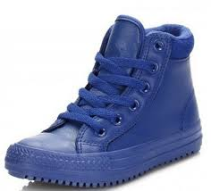 converse chuck taylor all star blue hi kids leather trainers zoom