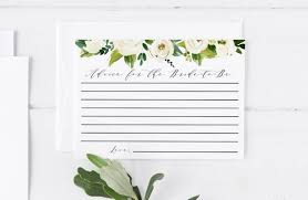 Printable Note Cards Template White Floral Advice For The Bride To Be Printable Note Card Etsy