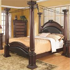 A canopy bed is a decorative bed style similar to the poster. A typical  example