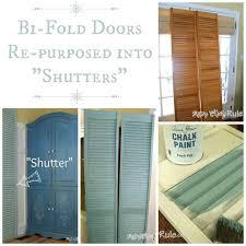 bi fold doors repurposed into shutters duck egg blue chalk paint