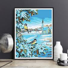 2018 gentle birds modern oil paintings by numbers art hand painted canvas snow two birds picture nordic diy oil painting by wall decor from