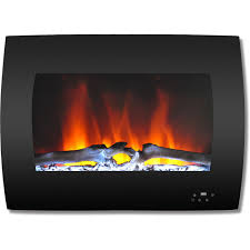 curved wall mount electric fireplace in black with multi color flames
