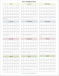Printable School Year Calendars Free Printable Academic Calendar For 2017 2018 School Year