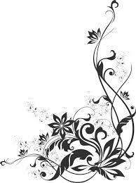 ポップでかわいい花のイラストフリー素材no1189白黒蔓葉