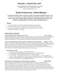 Michael Bradford CHST AHSM Safety Professional Resume Unique Constructing A Resume