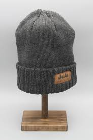 knit men s beanie with leather patch