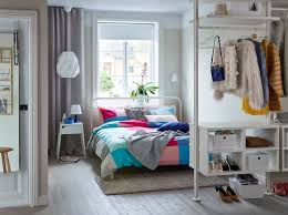 bedroom ideas. A Small Open Bedroom In Grey, White And Pink With NESTTUN Bed, SELJE Ideas