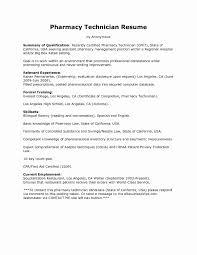 Resume Sample For Pharmacy Technician Unique Simple Pharmacy