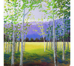 landscape painting print of the aspen birch trees acrylic and