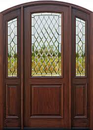 captivating beveled glass entry doors with mahogany material and trellis glass door featuring curved top