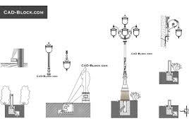 Light Fixtures Autocad Blocks Urban Lighting Design Cad Blocks Download