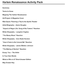 harlem renaissance activity packet traveling exhibits harlem renaissance activity packet