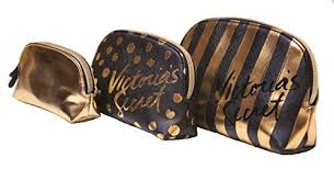 victoria s secret makeup bag trio gold and black