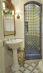 decorative tiled alcove for small walk in shower