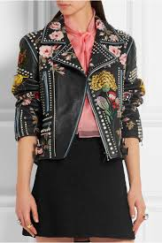 gucci leather jacket. gucci. embellished leather biker jacket gucci e