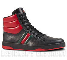 gucci shoes price. gucci mens 9g* black \u0026 red/green web leather ronnie high top sneakers nib authen gucci shoes price 3