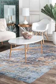 blue contemporary wool handmade area rug