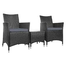 hassan 3 piece outdoor armchairs and table set black